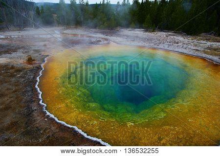 Upper Geyser Basin, Morning Glory Pool, Yellowstone, Wyoming, USA