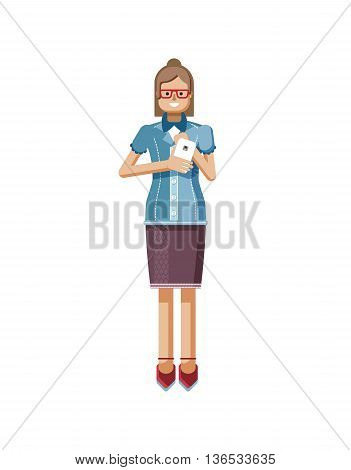 Stock vector illustration isolated European Brown hair woman with glasses, hipster blouse buttoned, woman with smartphone in hand, woman looking into screen of phone in flat style on white background