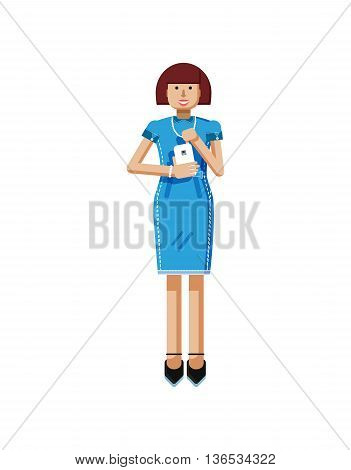 Stock vector illustration isolated of European middle-aged woman, brown hair, blue dress, touche screen, woman with smartphone in hand, woman looking into screen of phone flat style, white background