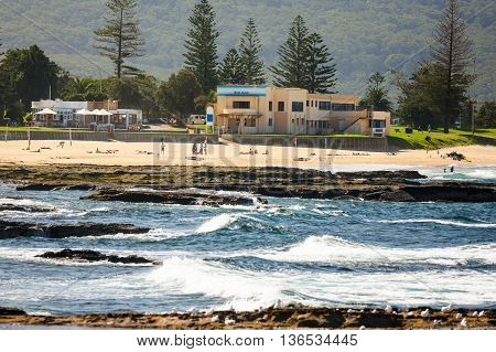 North Wollongong beach from out at sea looking past the rocks