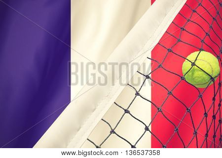 Roland Garros Tennis Concept With Flag And Ball