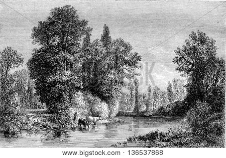 Exhibition of 1861, Banks of the Seine at Saint-Julien near Troyes, by Pron, vintage engraved illustration. Magasin Pittoresque 1861.