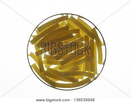 maccheroni pasta with back lighting
