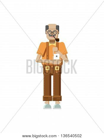 Stock vector illustration isolated of European elderly retiree, gray hair, mustache, in glasses, pipe in mouth, trousers with braces, old man with smartphone in hand in flat style on white background