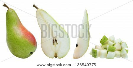 Whole pear, half, slice and diced isolated over white with path