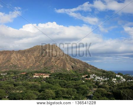 Aerial view of Diamondhead Kapiolani Park the gold coast Pacific ocean and waves on Oahu Hawaii. March 2016.