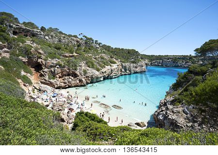 Beautiful Turquoise Clear Water At Majorca Beach, Calo Des Moro, Spain
