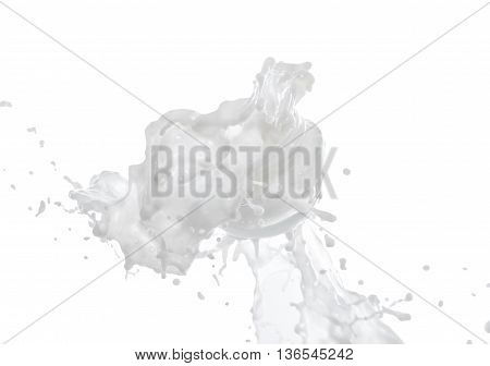 Moisturizing cream, moisturizing milk in the big milk splash isolated on the white background with milk drops