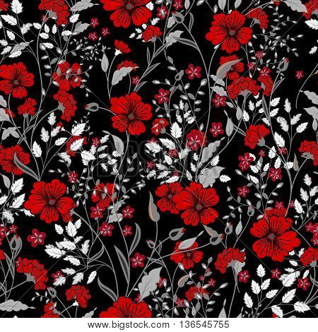 Vector vintage seamless floral pattern. Herbs and wild flowers. Botanical Illustration engraving style. Colorful red gray on black background poster