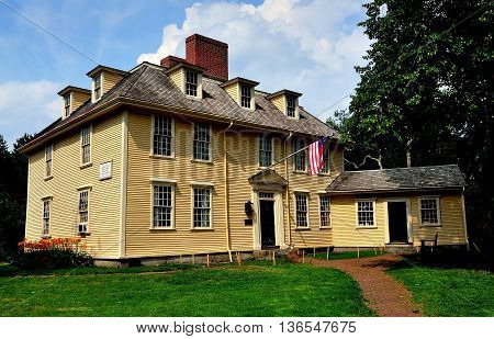 Lexington Massachusetts - July 10 2014: 1709 Buckman Tavern where the Minute Men the Lexington Militia gathered prior to the Revolutionary War April 19 1775 Battle of Lexington
