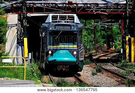 Newton Massachusetts - July 14 2013: The D Line Riverside subway train of the Boston