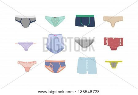 Underwear silhouette isolated male and female underwear isolated on white background. Underwear isolated vector clothing cotton textile pants and underwear isolated beauty bra woman accessory