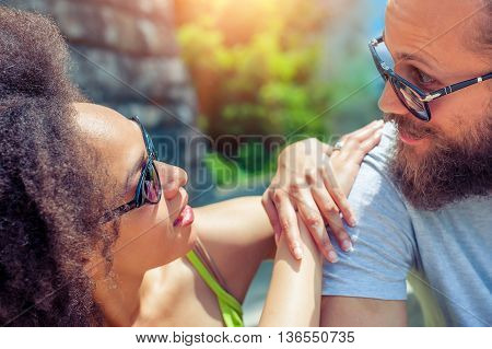 Close up of romantic couple in love sharing a special moment
