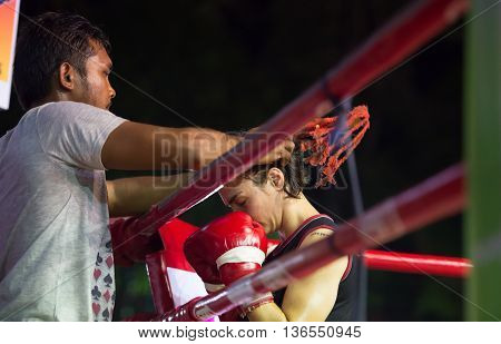 HUAHIN THAILAND-16APR2016:Unidentified people Muaythai girl Thai boxing Martial Art of Thailand at huahin thailand on 16 april 2016
