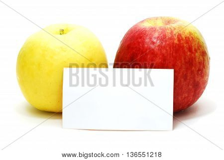 Red and Yellow Apples with Blank Advertisement Card Isolated on White Background with Shadow