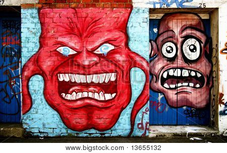 Very funny and scary graffiti face