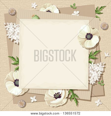 Vector beige card with white poppies and lilac flowers on a sacking background.