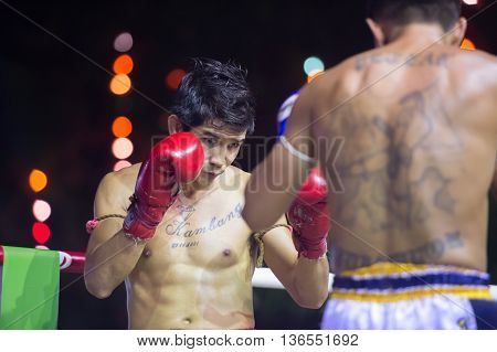 HUAHIN THAILAND-16APR2016:Unidentified peopleMuaythaiThai boxing Martial Art of Thailand at huahinthailand on 16 april 2016