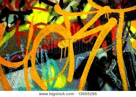 Orange untidy and dripping graffiti