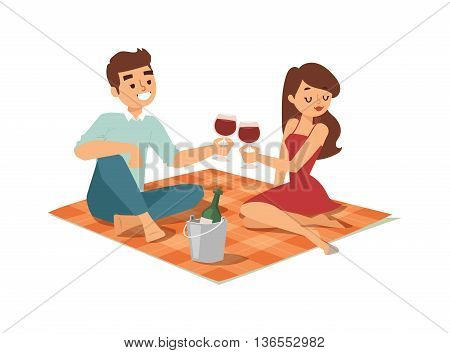 Nice looking young american male student date flirting boy and girl chasing pleased on outdoor date. Date flirting boy and cute girl. Vector character date flirting boy and girl happiness together.