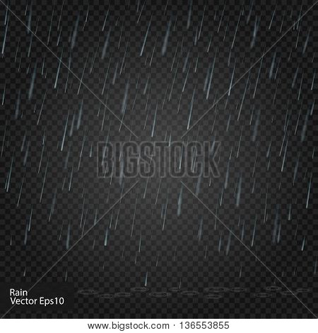 Rain. Really transparent effect. Vector illustration Alpha
