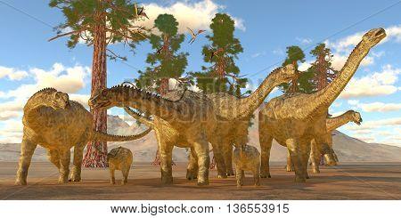 Uberabatitan Dinosaurs 3D Illustration - Zhejiangopterus reptile birds fly over a herd of Uberbatitan dinosaurs during the Cretaceous Period.