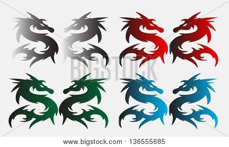 Silhouette of a dragon on a simple background