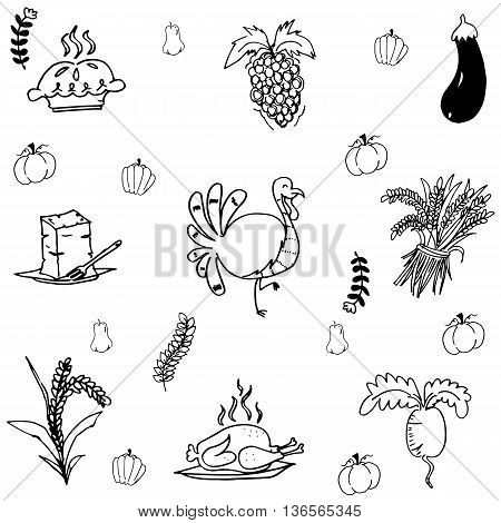 Doodle Thanksgiving turkey and vegetable vector art