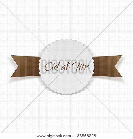 Eid al-Fitr greeting paper Label. Vector Illustration