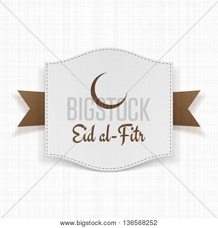 Eid al-Fitr muslim greeting Label. Vector Illustration