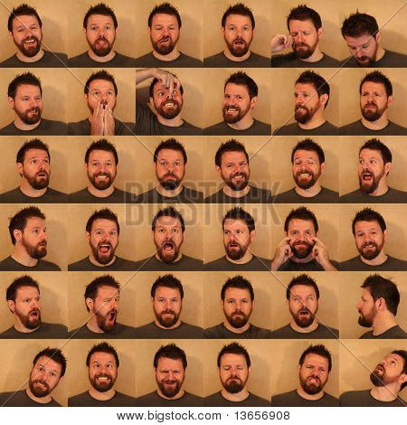 36 funny portraits of a man with a beard pulling faces.