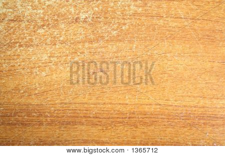 Scratched wood grain surfaced table top . poster