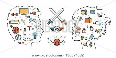 Flat line design concept of thought opposition woman favorite interests versus man favorite interests dream idea desire wish habits. Men vs women. Website blog banner infographic elements