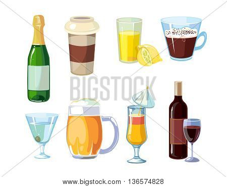 Alcoholic and non alcoholic drinks. Different beverages with bottles and glasses. Vector icons