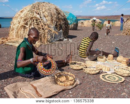 El Molo People Sells Traditional Souvenirs