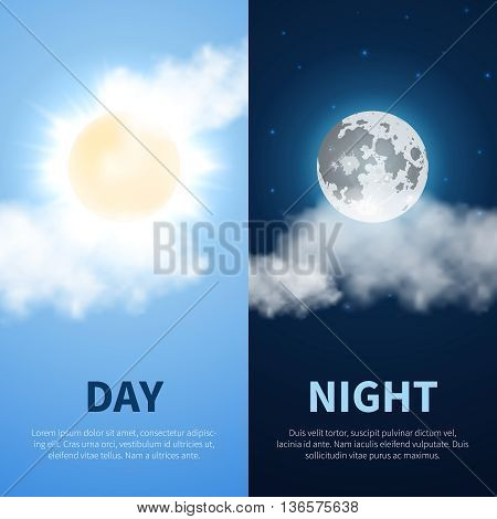 Day and night vector time concept background with sun and moon icons. Weather with sun day and moon night. Illustration banner sun and moon with cloud