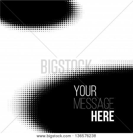 black and white ellipse halftone pattern. Stock vector