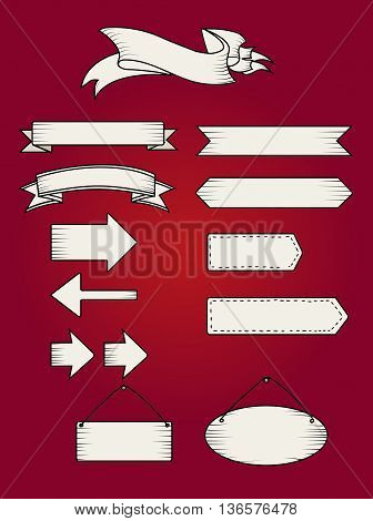Retro ribbon banners set. Beautiful blank for decoration graphic. Old vintage style Flat design. Premium decorative elements isolated on white background. Template collection labels Vector illustration
