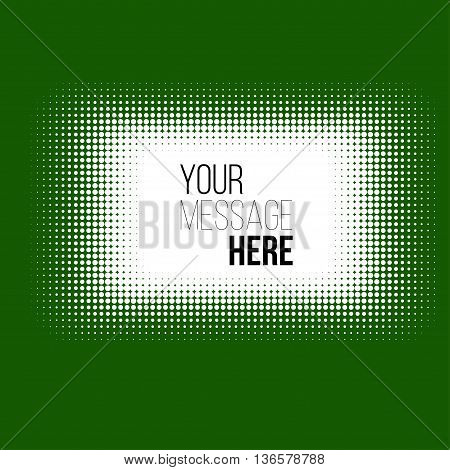 white halftone rectangle on green background. Stock vector pattern .