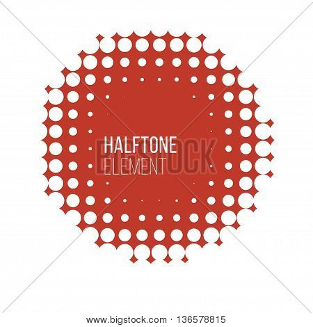 red round halftone pattern on white background. Stock vector illustration.
