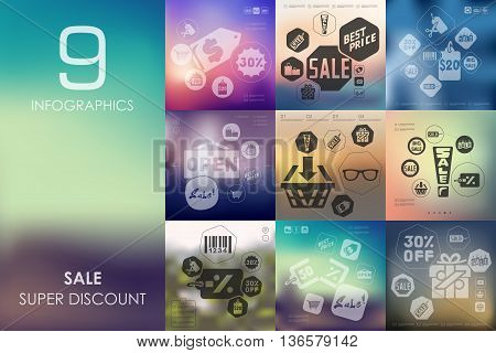 sale vector infographics with unfocused blurred background