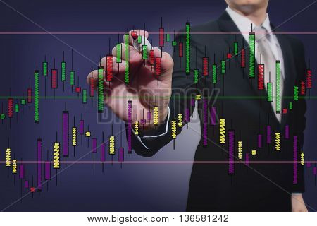 businessman drawing a stock graph, business plan, data