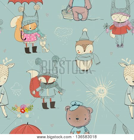 seamless pattern with cute little doodle animals