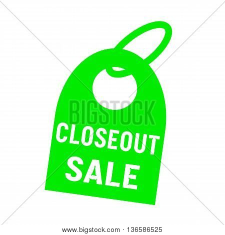 closeout sale white wording on background green key chain
