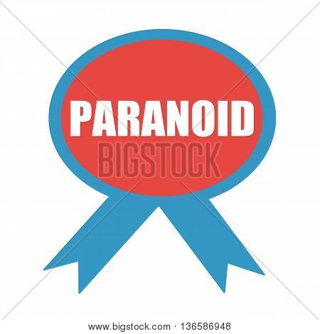 PARANOID white wording on background red ribbon