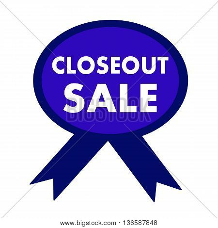 closeout sale white wording on background blue ribbon