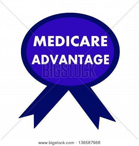 medicare advantage white wording on background blue ribbon