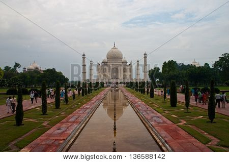 Classical Taj Mahal view in Agra India