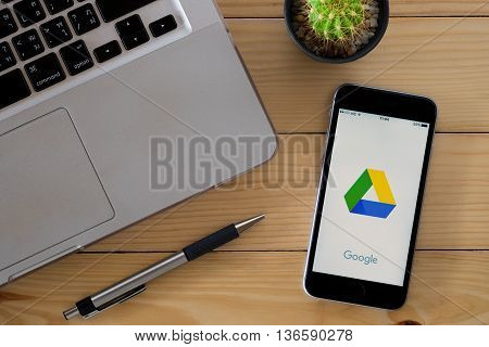 CHIANGMAI THAILAND -JUNE 9 2016:Iphone 6s open google drive app.Google Drive is a free and have all files within reach from any smartphone tablet or computer.