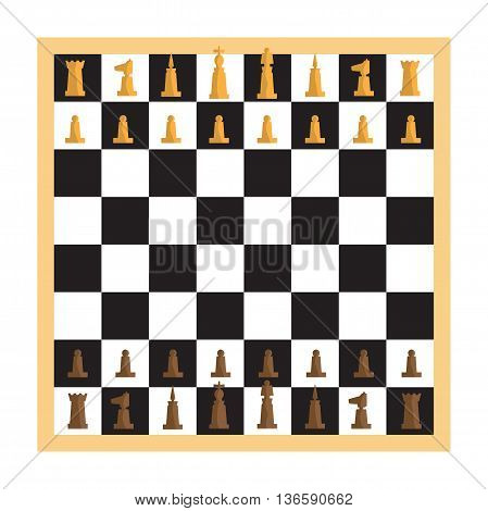 Modern minimal chess set and chessboard with pieces apart. Simple flat vector Illustration.